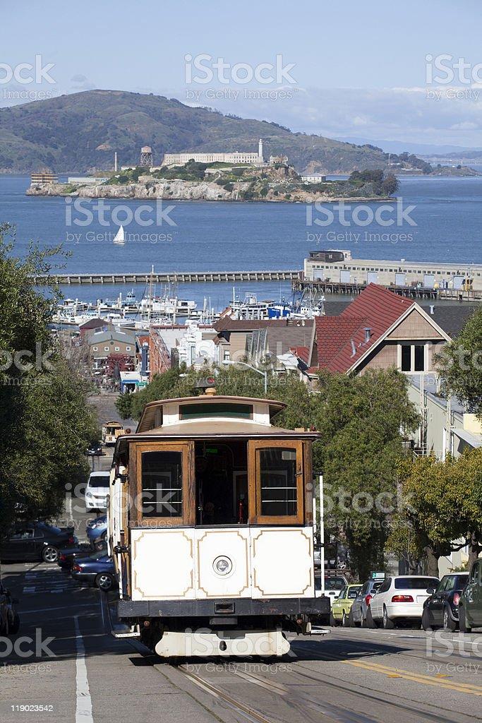 Cable Car by Alcatraz royalty-free stock photo