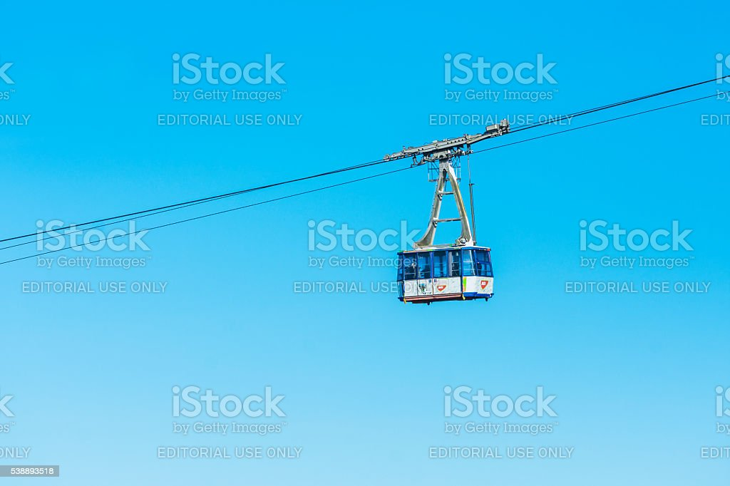 Cable car cabin transporting people stock photo