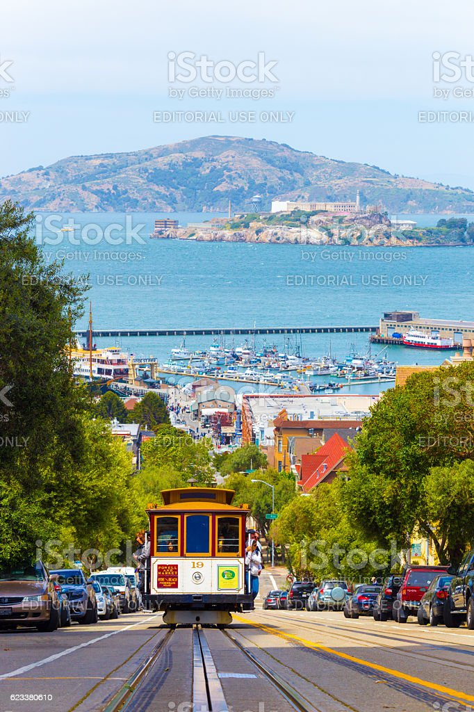 SF Cable Car Coming Uphill Alcatraz Angel Island stock photo