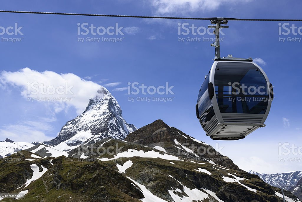 Cable car crossing in front of the Matterhorn, Switzerland. -XXXL royalty-free stock photo