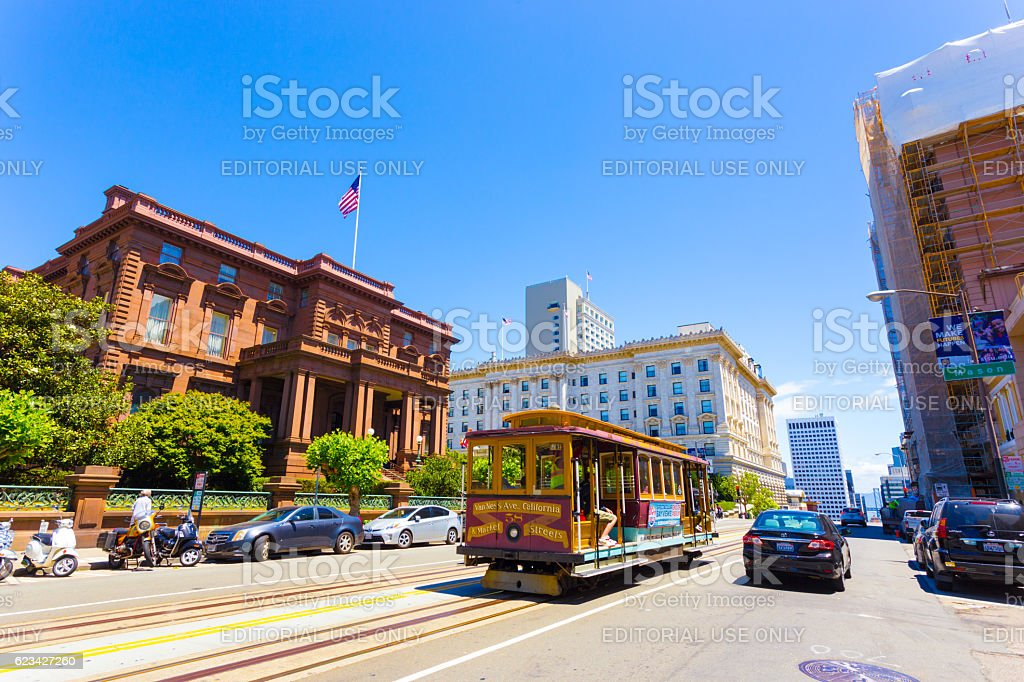 Cable Car Flood Mansion Fairmont California St H stock photo