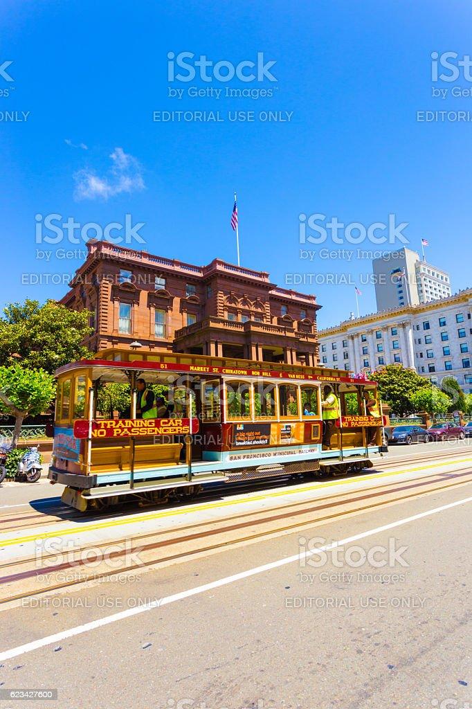 Cable Car Flood Mansion Fairmont California St V stock photo