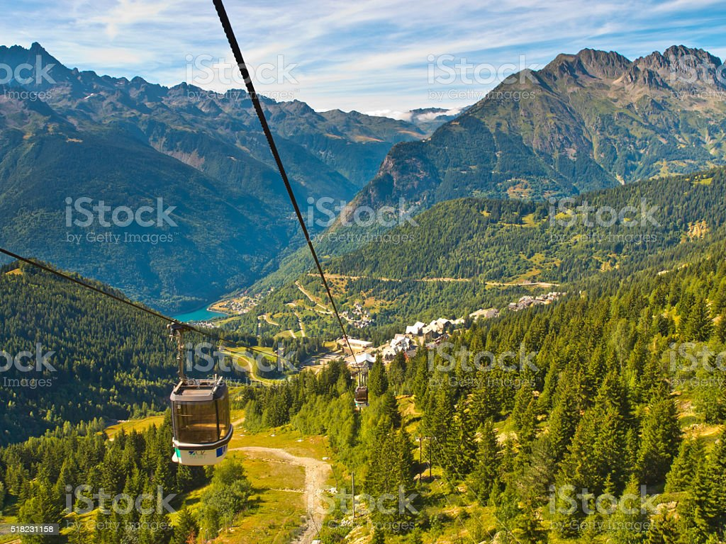 Cable Car French Alps stock photo