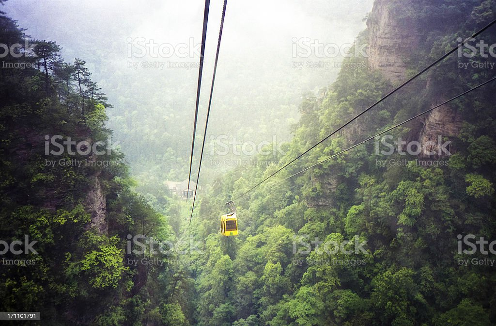 Cable Car Going Down a Mountain, China. stock photo