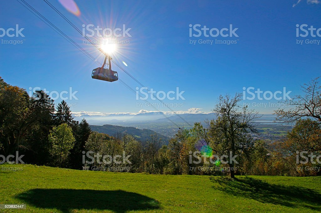 Cable car in Austrian mountains stock photo