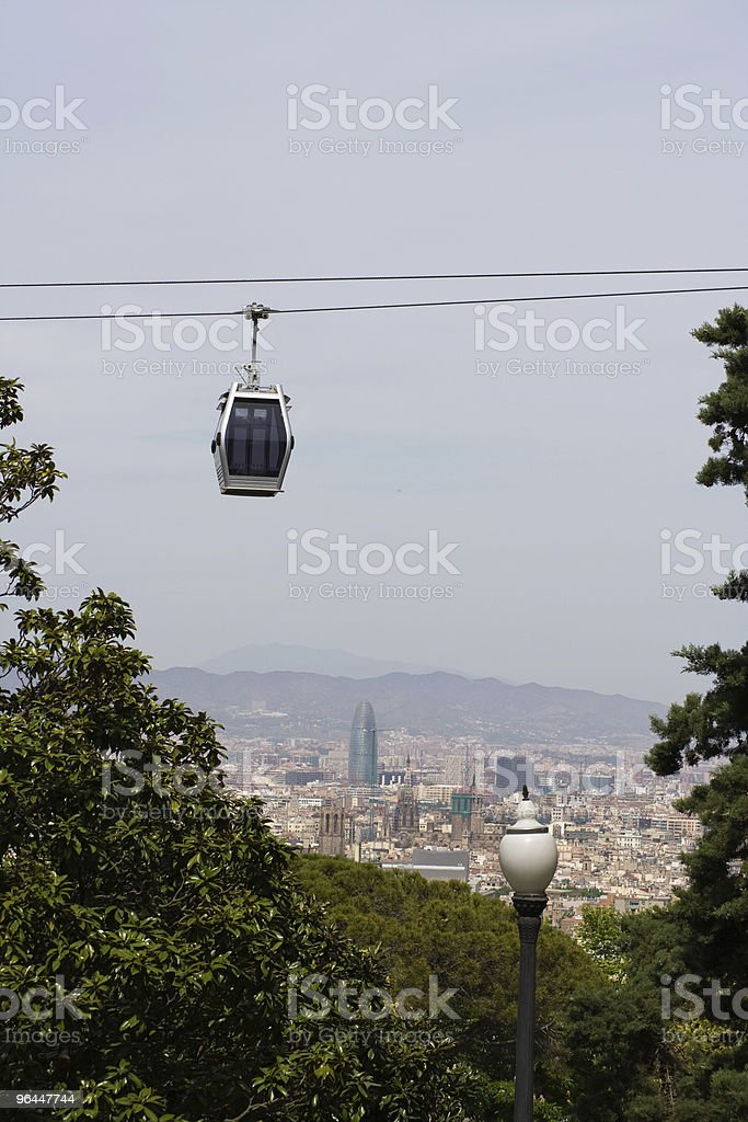 Cable car in Barcelona stock photo