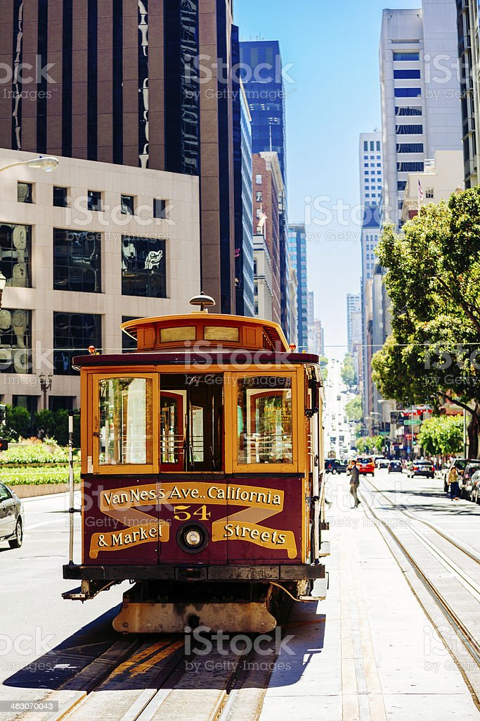 Cable Car in California Street of San Francisco stock photo