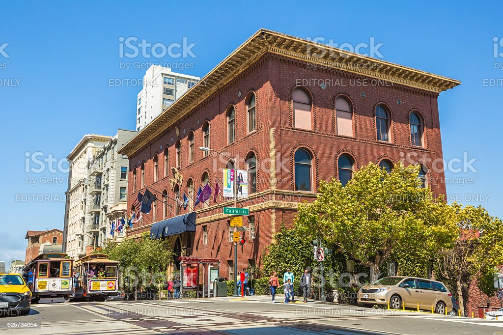 Cable Car in California Street stock photo