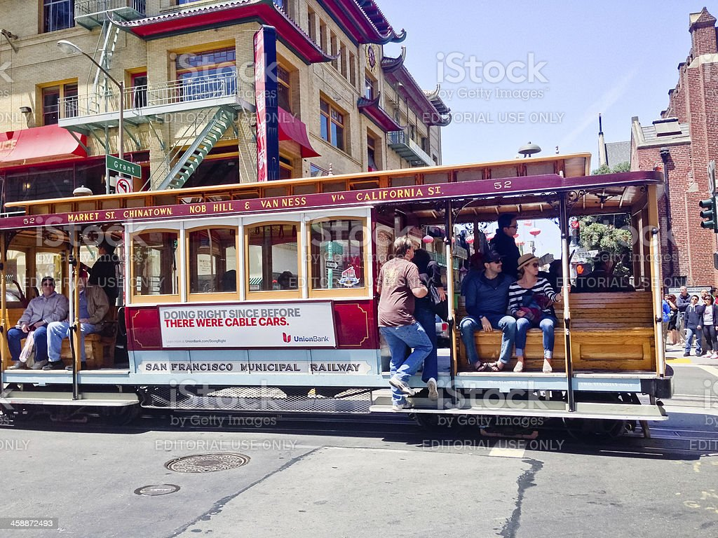 Cable Car in Chinatown, San Francisco royalty-free stock photo
