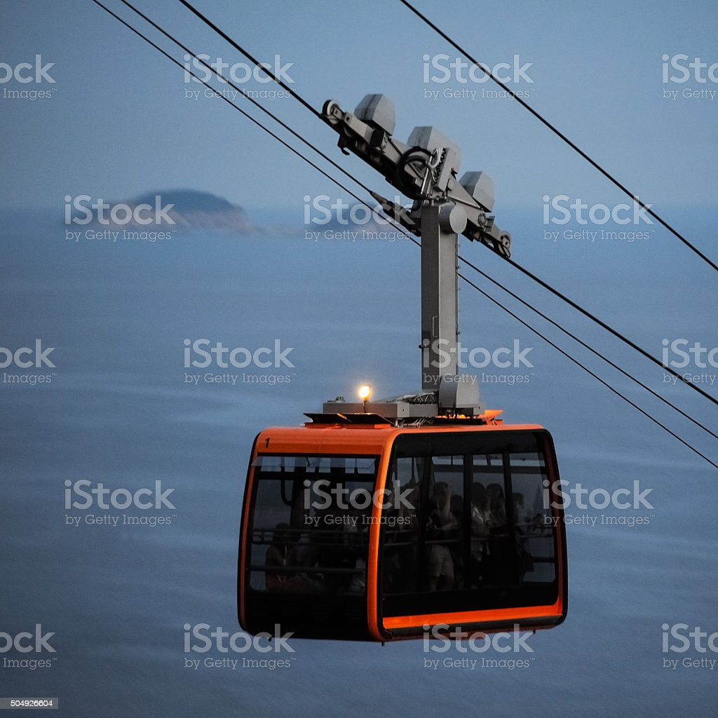Cable car in Dubrovnik on the mountain Srd stock photo