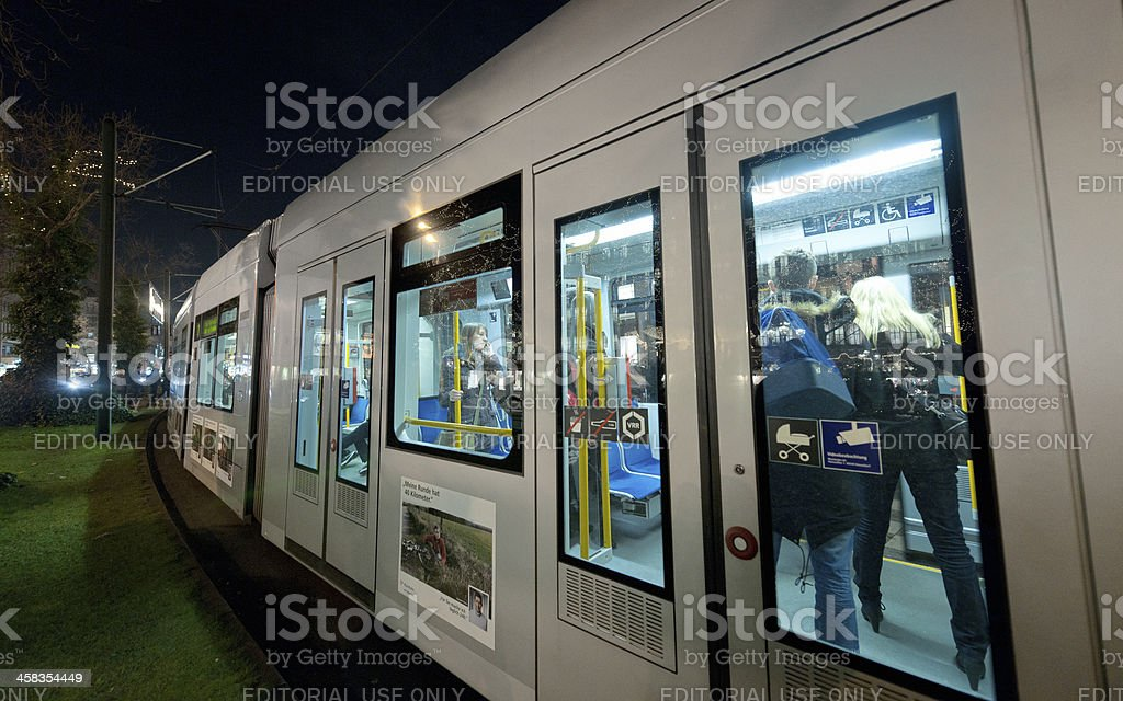 cable car in Dusseldorf Germany at night stock photo