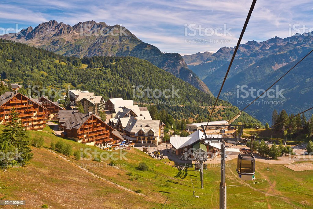 Cable Car in European Alps stock photo