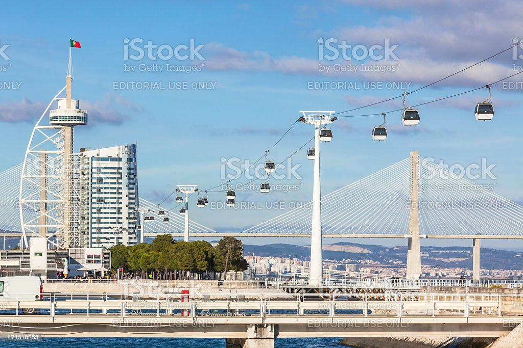 Cable car in Expo district, Lisbon, Portugal stock photo