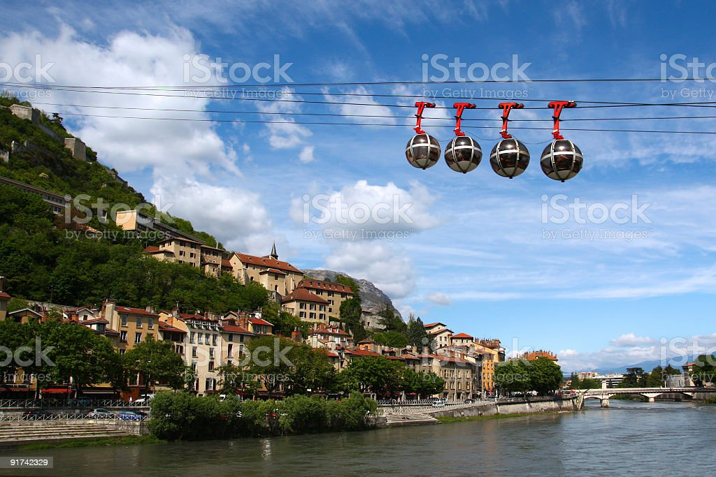 Cable car in Grenoble, France stock photo