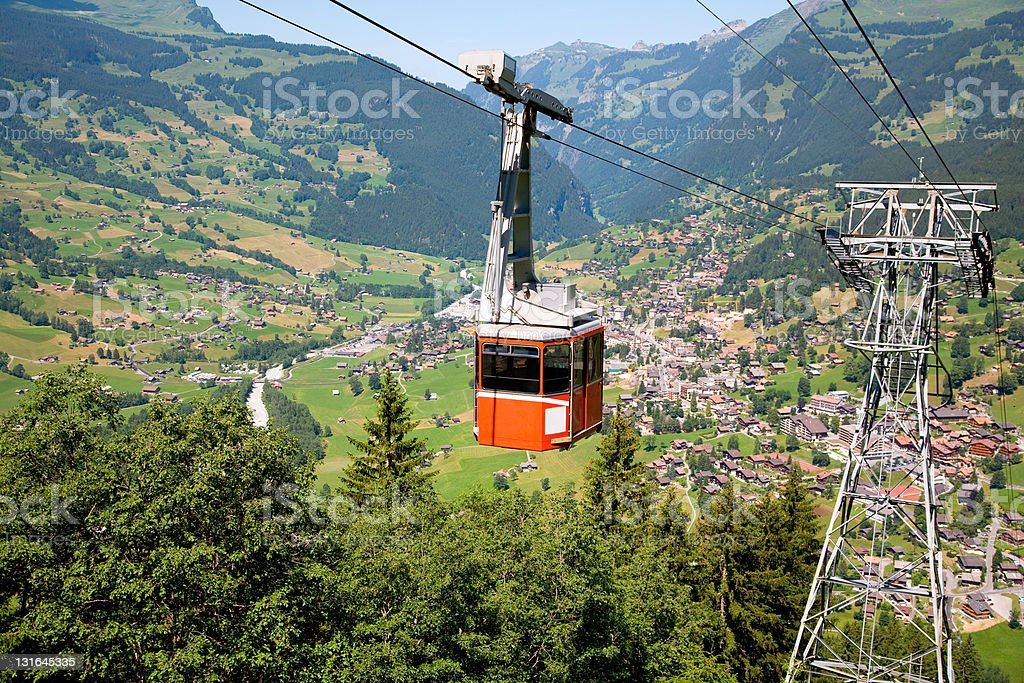Cable Car in Grindelwald, Bern Canton, Switzerland stock photo