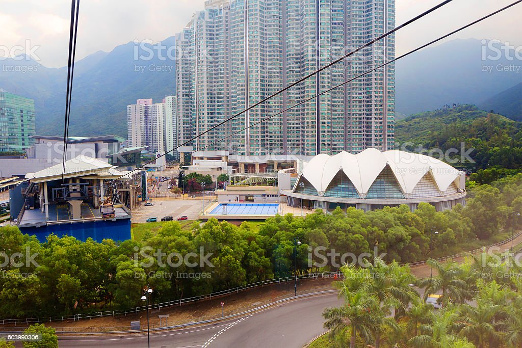 Cable car in Hong Kong stock photo