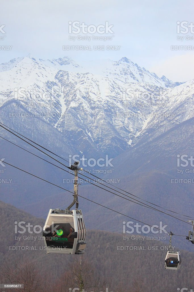 cable car in Krasnaya Polyana stock photo