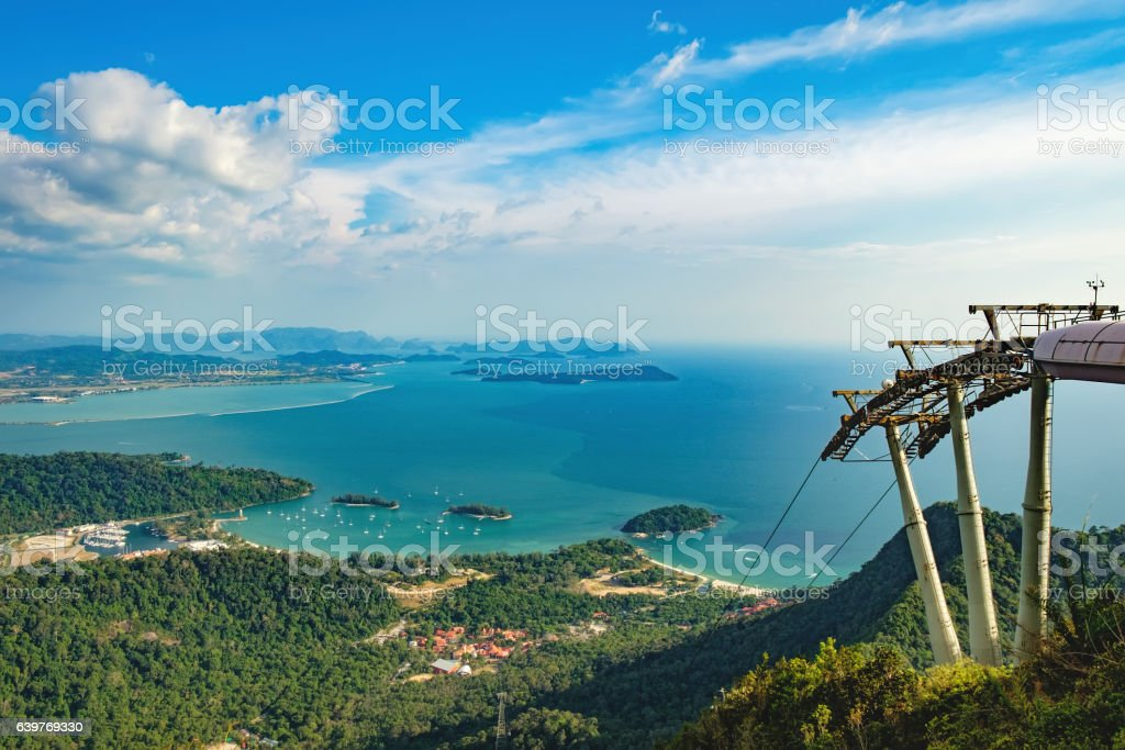 Cable Car in Langkawi island landscape, Malaysia stock photo