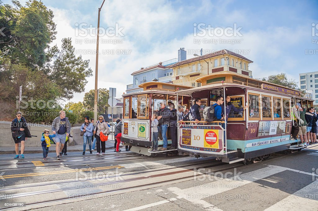 Cable Car in Lombard street stock photo