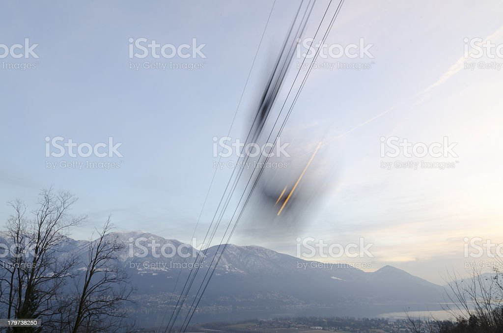 Cable car in long exposure royalty-free stock photo
