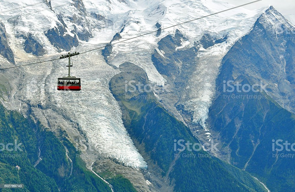 Cable car in mountains stock photo