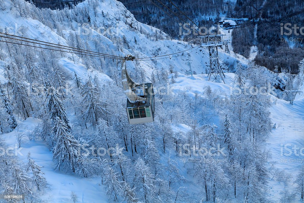 Cable car in mountains, Vogel ski center the Julian Alps stock photo