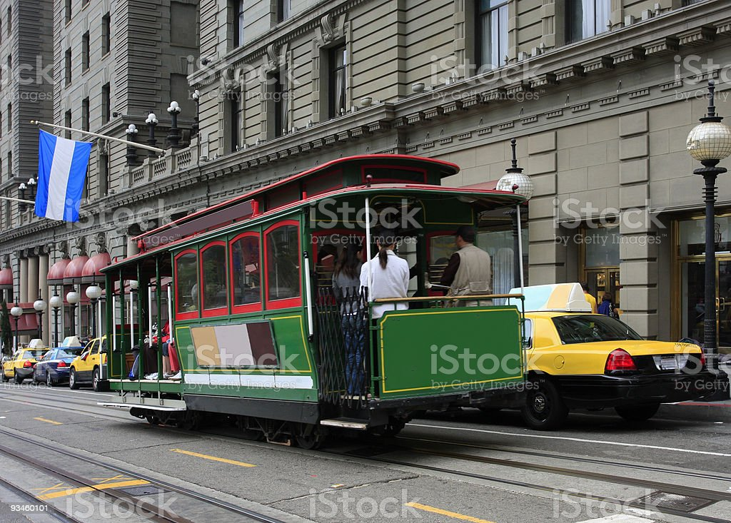 Cable Car in San Francisco at Union Square stock photo