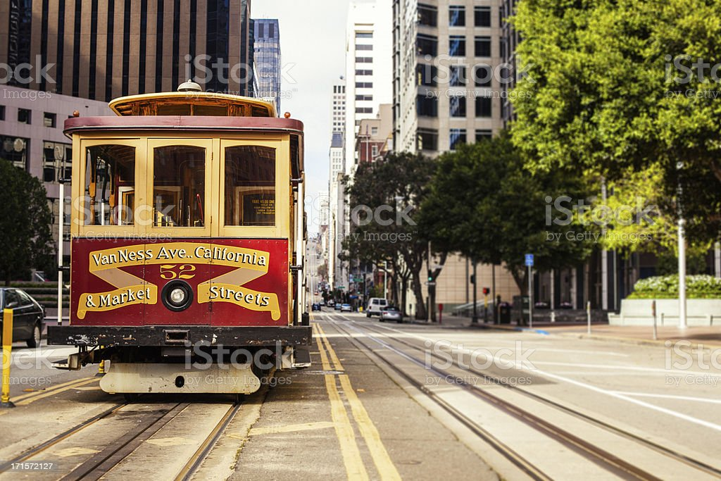 Cable Car in San Francisco, California Street stock photo