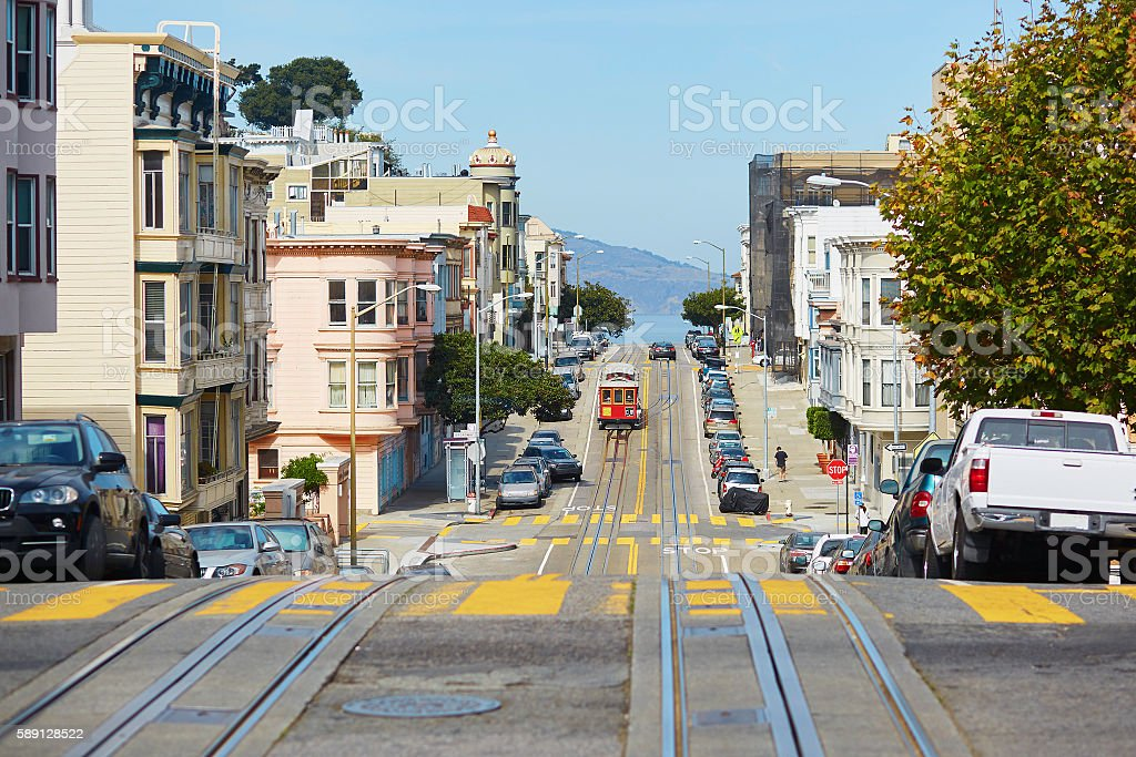 Cable car in San Francisco, USA stock photo
