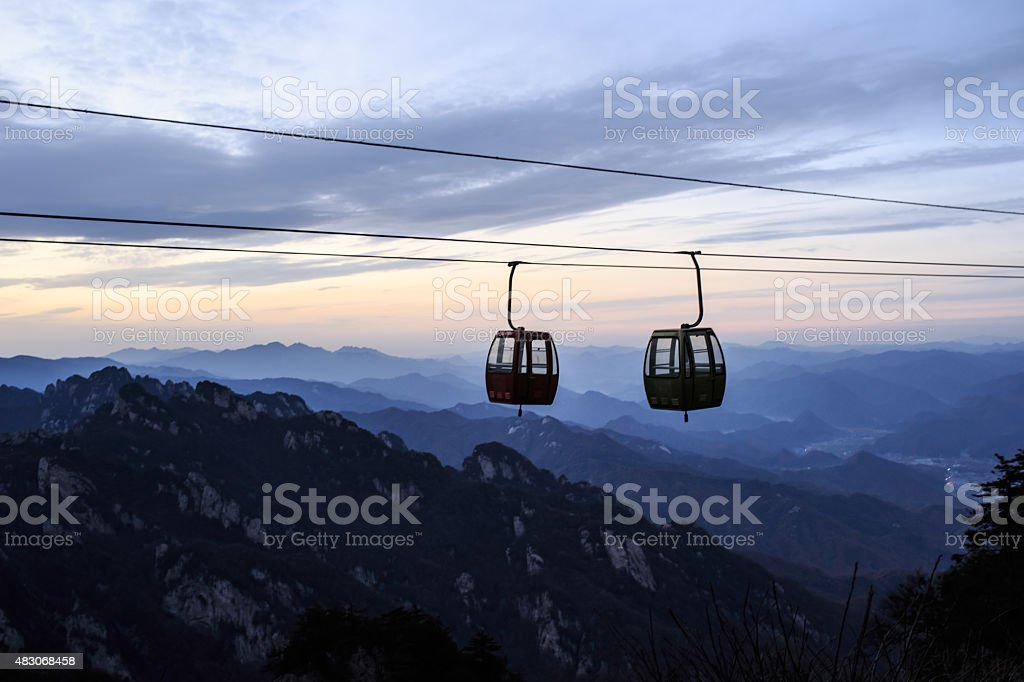 Cable car in sky stock photo