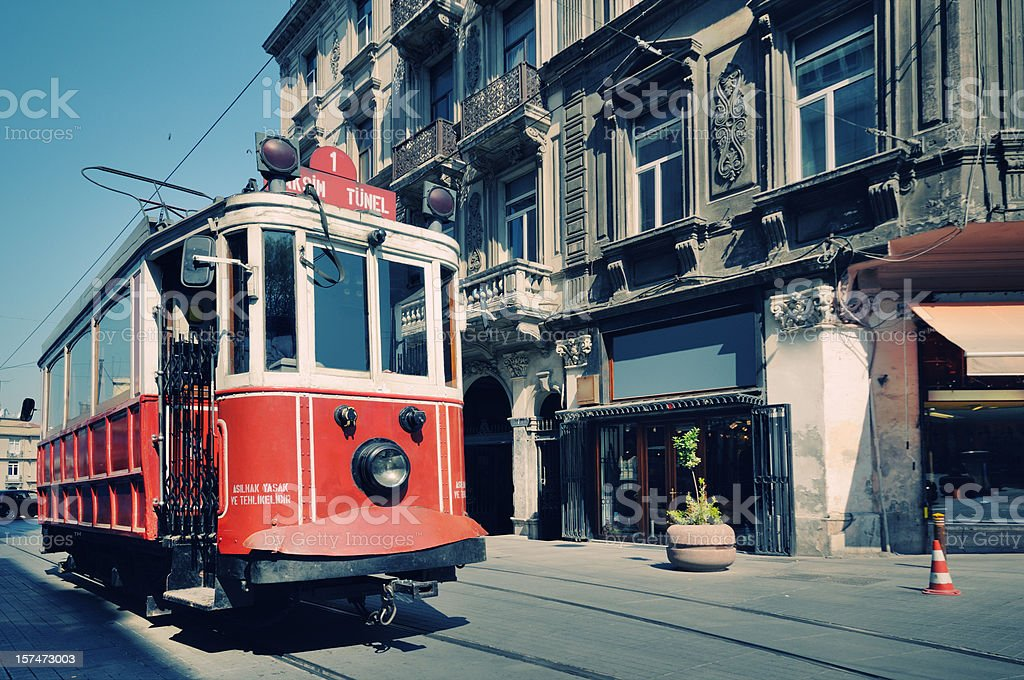Cable car in street of Istiklal, Beyoglu, Istanbul, Turkey stock photo
