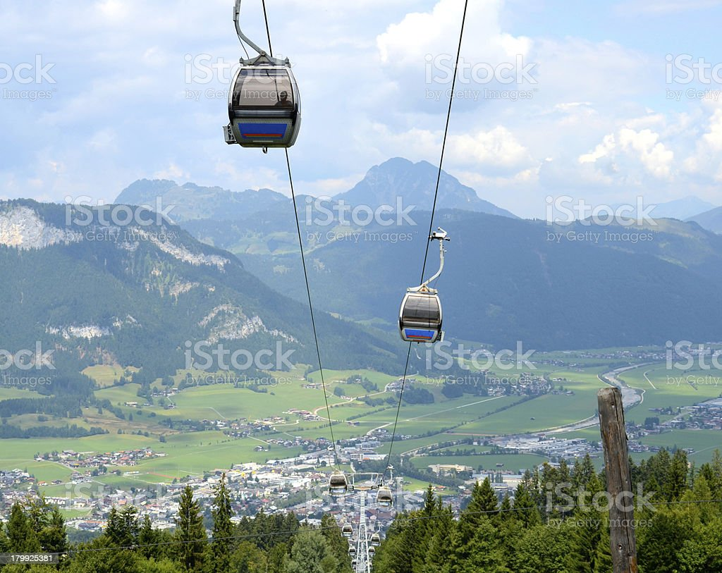 Cable Car In The Alps stock photo