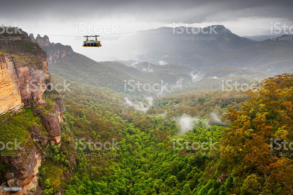 Cable car in the Blue Mountains stock photo