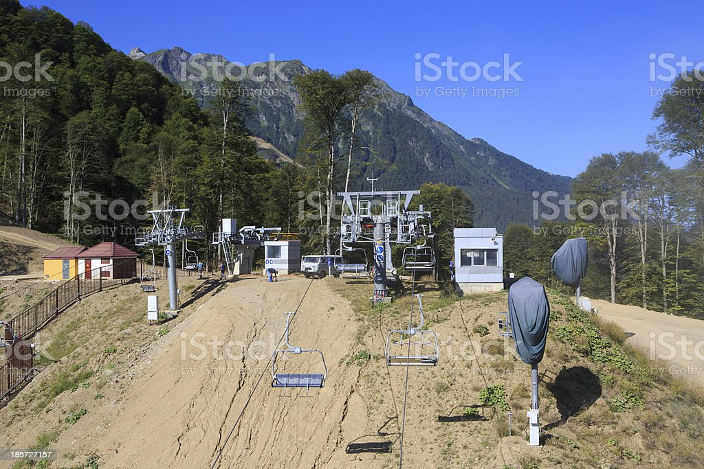 Cable car in the Caucasus Mountains. royalty-free stock photo