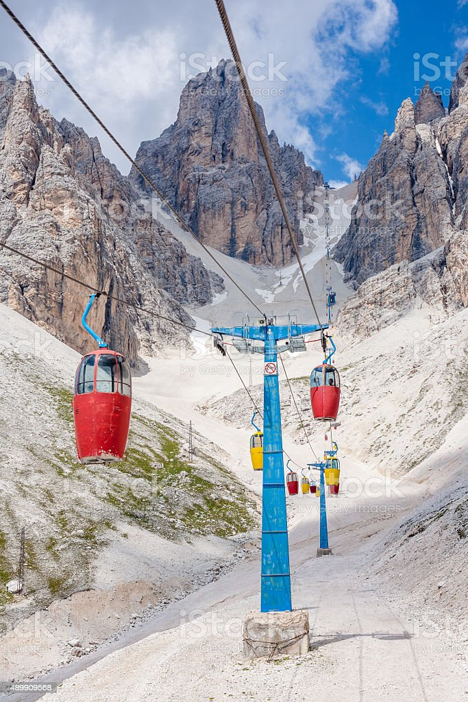 Cable car in the Dolomites stock photo