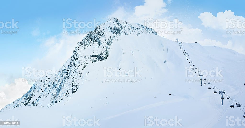 Cable car in the  mountains royalty-free stock photo