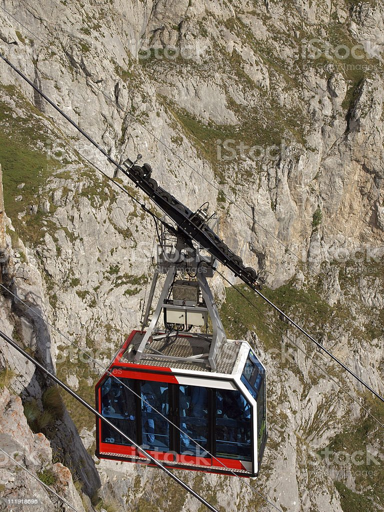 Cable car in the Picos de Europa, Spain stock photo