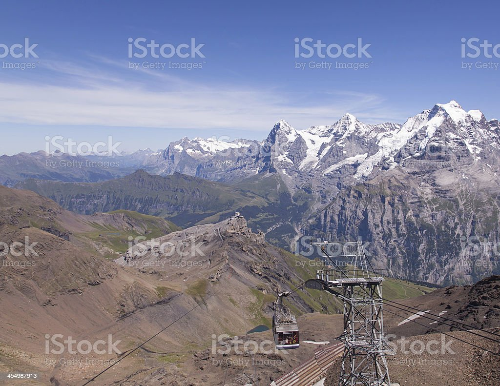 Cable car in the Swiss Alps stock photo