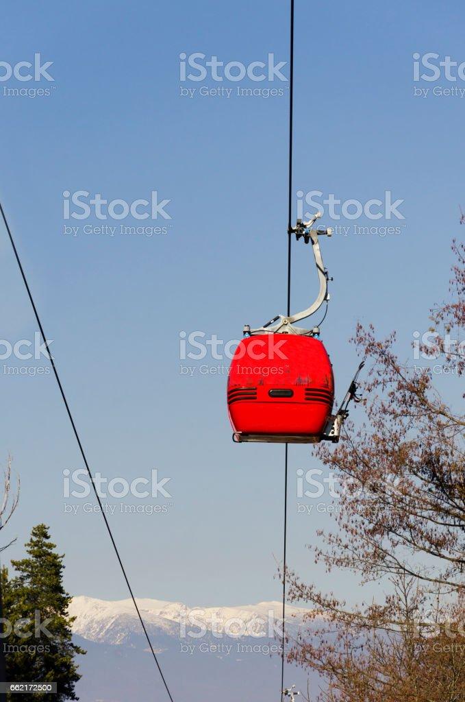 Cable Car in Winter. Bansko, Bulgaria stock photo