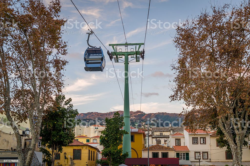 Cable car is going over the old town of Funchal stock photo