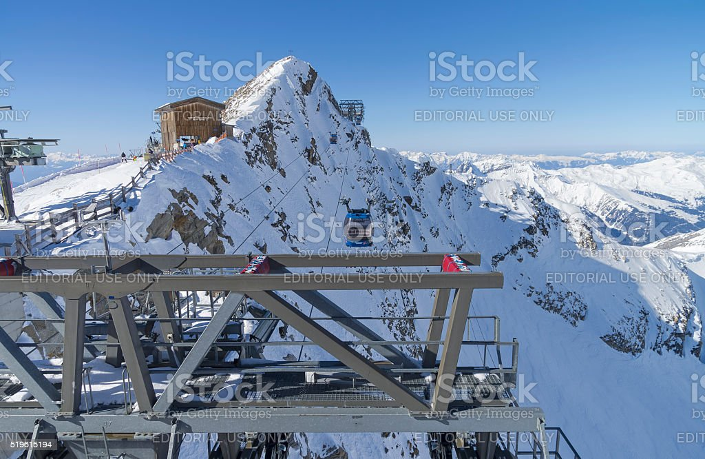 Cable car leading to the top of the Hintertux Glacier. stock photo