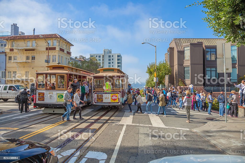 Cable Car Lombard street stock photo