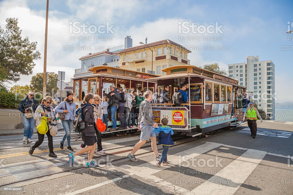 Cable Car Lombard street stop stock photo