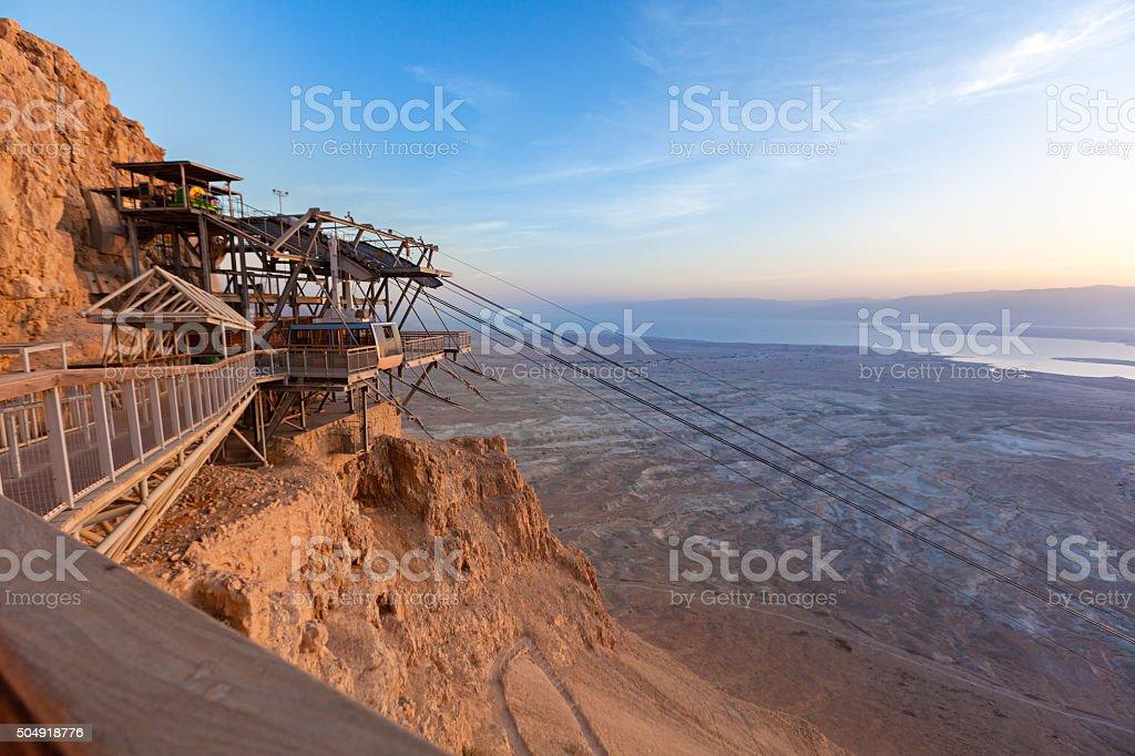 Cable Car, Masada, Negev, Israel stock photo