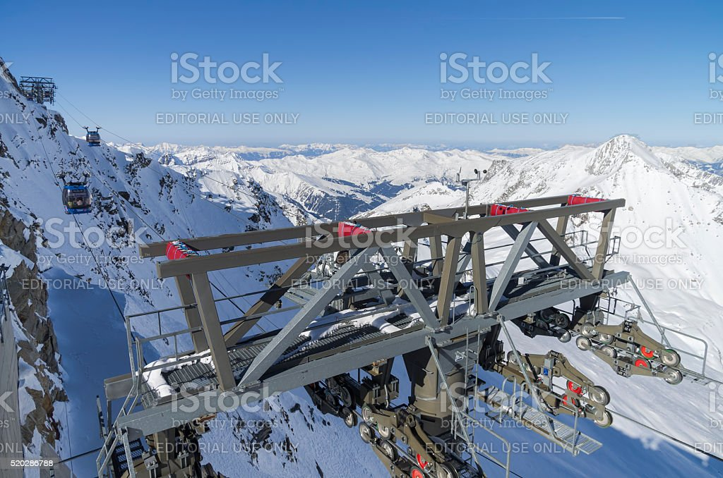 Cable car masts on a steep slope. Austrian Alps. stock photo