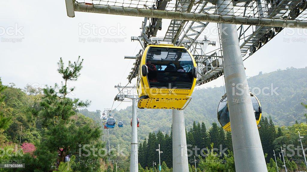 Cable car near Sun Moon lake in Taiwan stock photo