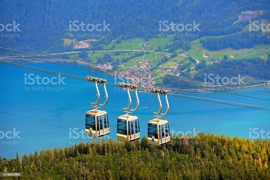 cable car of the Thunersee(German) scenic area stock photo
