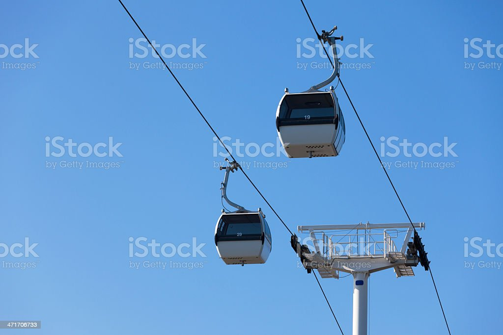 Cable car on blue sky background royalty-free stock photo