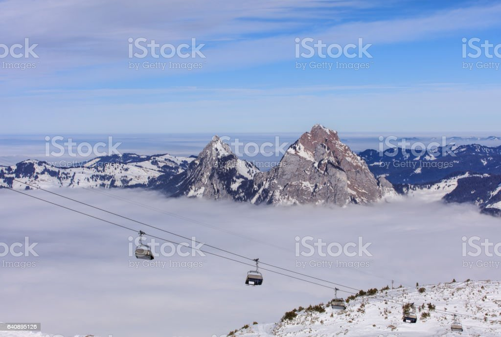Cable car on Fronalpstock mountain in Switzerland stock photo