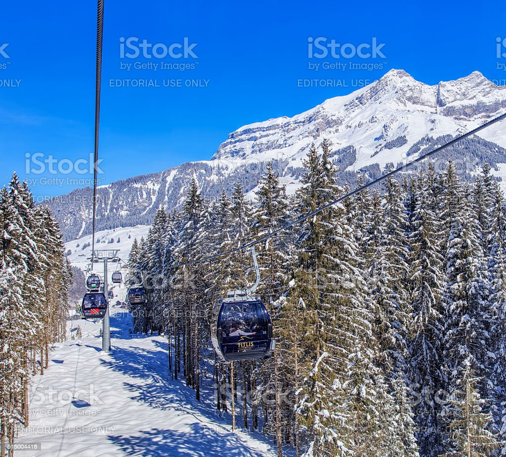 Cable car on Mt. Titlis stock photo